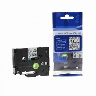 Kompatibilní páska Brother TZ-121 / TZe-121, 9mm x 8m, černý tisk / průhledný podklad