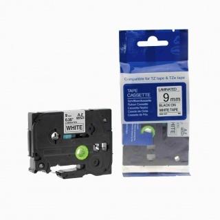 Kompatibilní páska Brother TZ-221 / TZe-221, 9mm x 8m, černý tisk / bílý podklad
