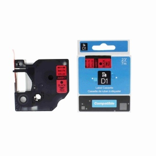 Kompatibilní páska Dymo 40917, S0720720, 9mm x 7m černý tisk / červený podklad