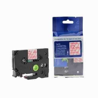 Kompatibilní páska s Brother TZ-132 / TZe-132, 12mm x 8m, červený tisk / průhledný podklad