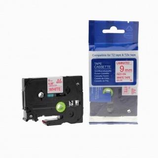 Kompatibilní páska s Brother TZ-222 / TZe-222, 18mm x 8m, červený tisk / bílý podklad