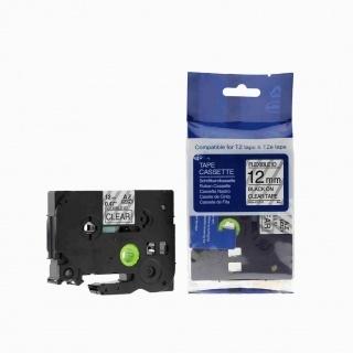 Kompatibilní páska s Brother TZ-FX131/TZe-FX131, 12mm x 8m, flexi černý tisk/čirý podklad