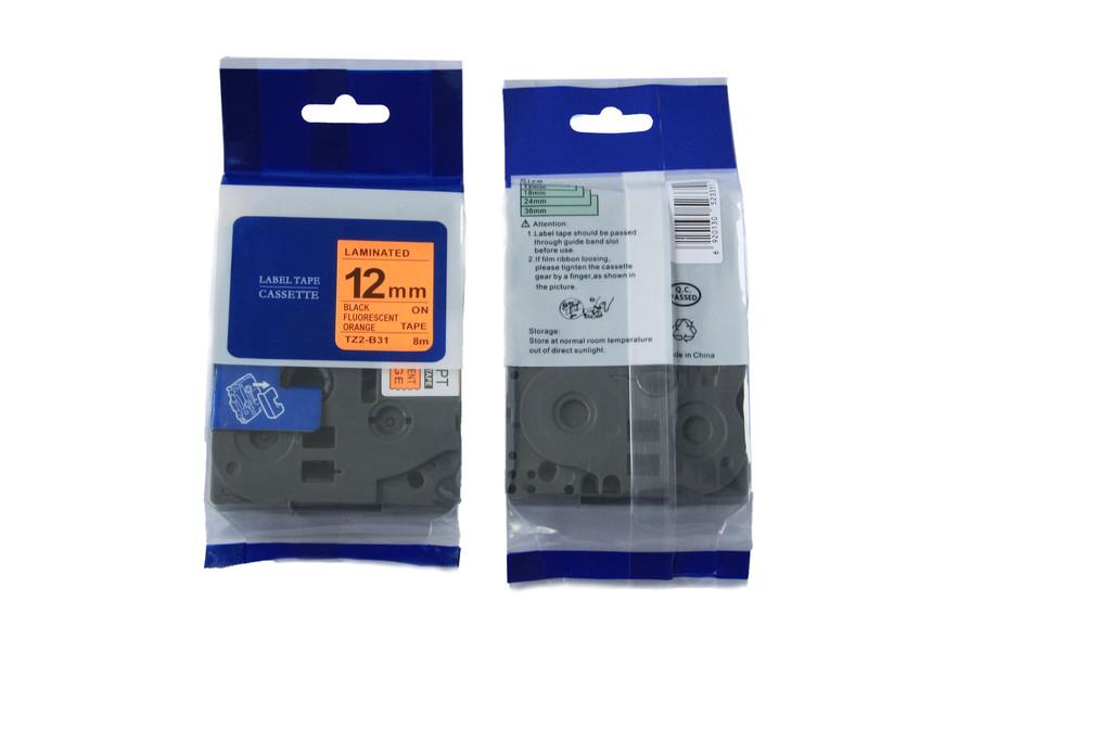 Kompatibilní páska s Brother TZ-B31/TZe-B31, signální 12mm x 5m, černý tisk/oranž. podklad