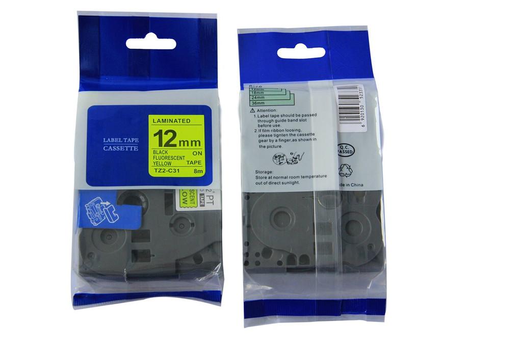 Kompatibilní páska s Brother TZ-C31/TZe-C31, signální 12mm x 5m, černý tisk/žlutý podklad