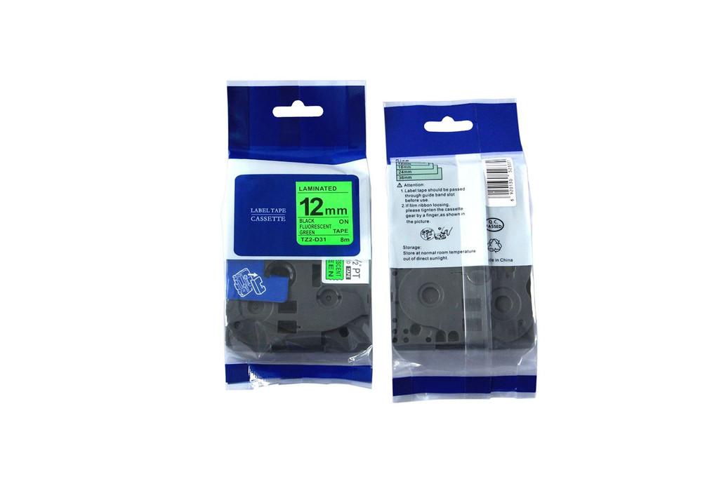 Kompatibilní páska s Brother TZ-D31/TZe-D31, signální 12mm x 5m, černý tisk/zelený podklad