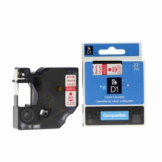 Kompatibilní páska s Dymo 45012, S0720520, 12mm x 7m červený tisk / průhledný podklad