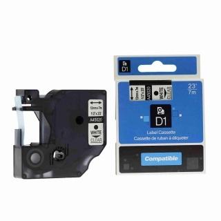 Kompatibilní páska s Dymo 45020, S0720600, 12mm x 7m bílý tisk / průhledný podklad
