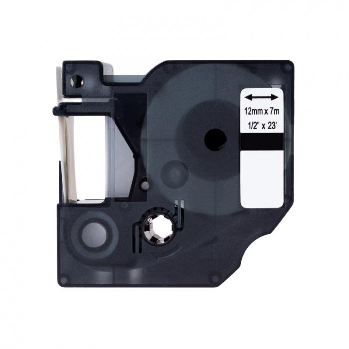 Kompatibilní páska s Dymo 45021, S0720610, 12mm x 7m bílý tisk / černý podklad