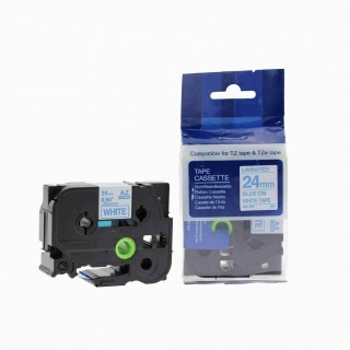 Kompatibilní páska s Brother TZ-253 / TZe-253, 24mm x 8m, modrý tisk / bílý