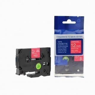 Kompatibilní páska s Brother TZ-435 / TZe-435, 12mm x 8m, bilý tisk / červený