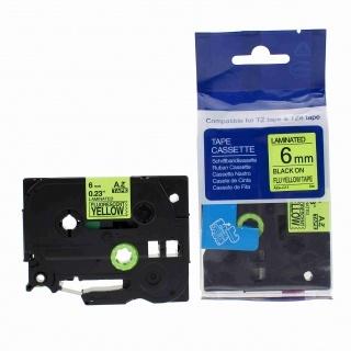 Kompatibilní páska s Brother TZ-C11/TZe-C11, signální 6mm x 5m, černý tisk/žlutý podklad